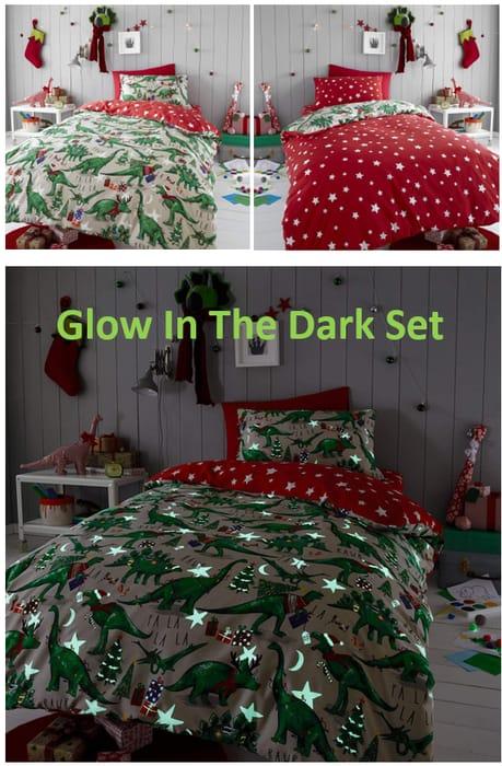 Christmas Dinosaur Glow in the Dark Duvet Cover Set, Reversible