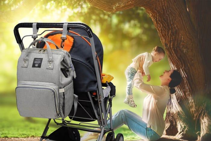 *SAVE £40* Multi-Functional Baby Bag - Black & Grey