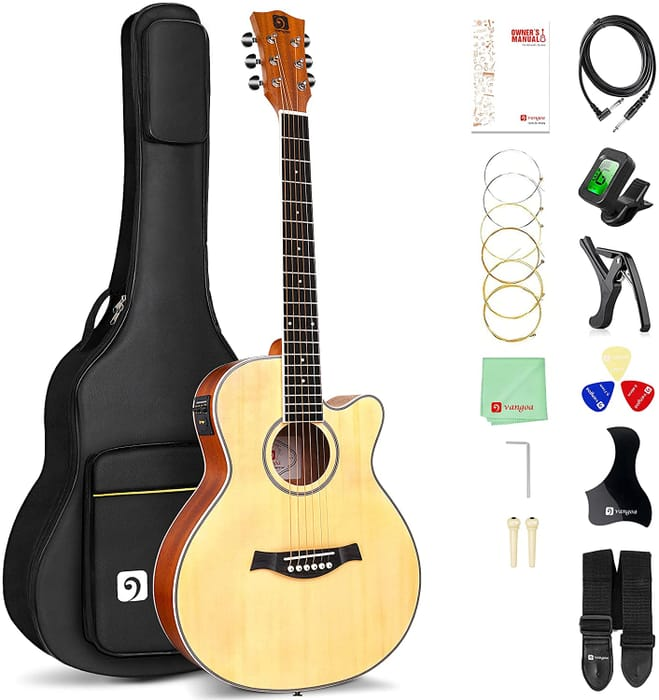 Electro Acoustic Guitar 3/4 Folk Guitar Set with 2 Band EQ, Built-in Tuner,