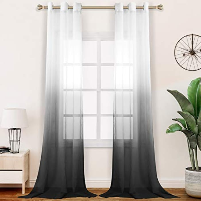 DEAL STACK - Light Filtering Gradient Voile Eyelet Curtains, Set of 2 + Coupon
