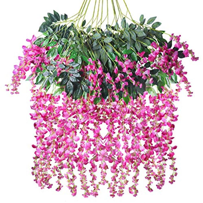 Tifuly 12 Pcs Artificial Wisteria Vines - Only £11.69!