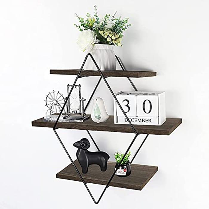 Rustic Wood Geometric Style Decor Shelf