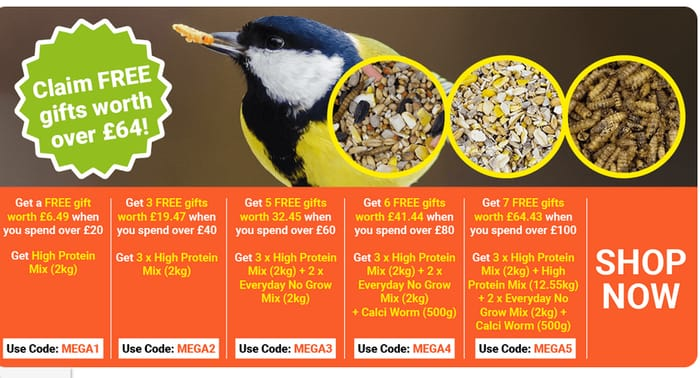 2Kg of High Protein Mix Free When You Spend over £20 at Garden Wildlife