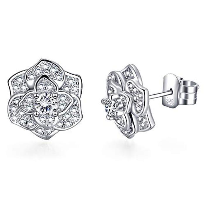 Sterling Silver Love Rose Flower Stud Earrings