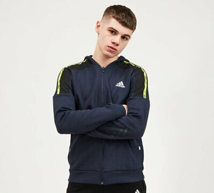 Adidas - Junior Branded Zip Hoodie (Navy) Kids (Free Delivery)