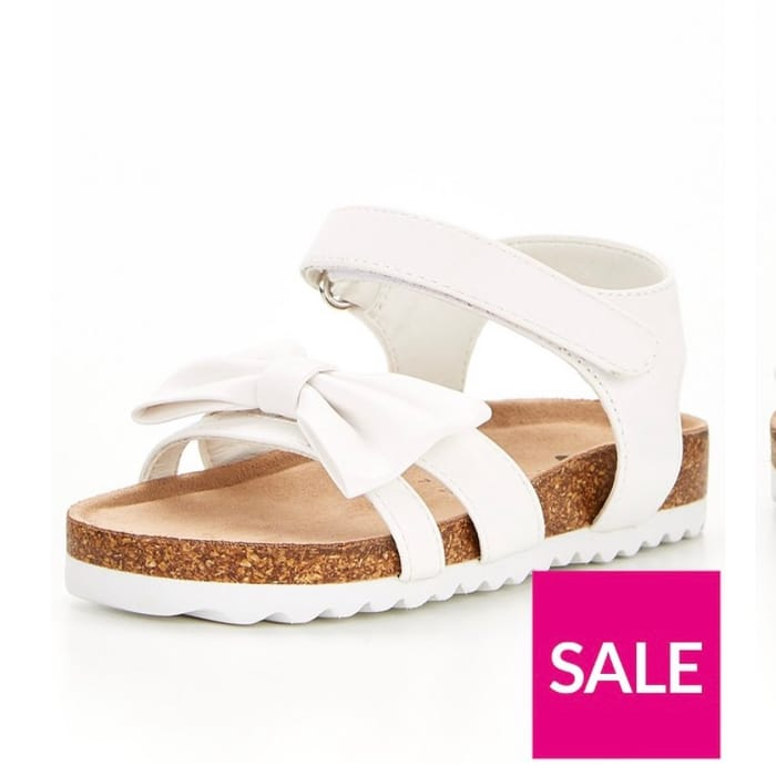 V by Very Girls Footbed Bow Sandal - White
