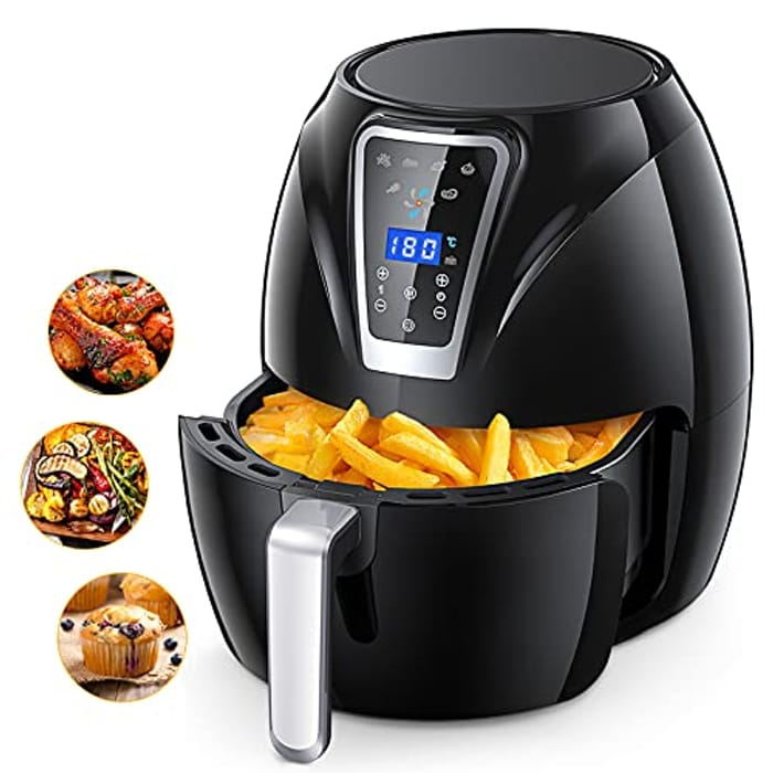 Air Fryer, 4.3L Hot Air Fryer with LED Display Panel, 1400W Rapid Heating