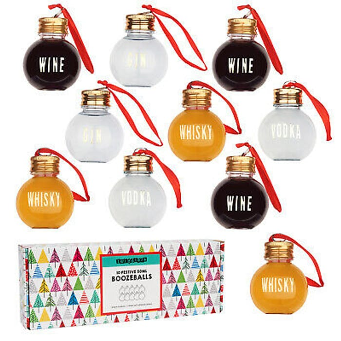 10 Christmas Tree Baubles Fillable Gin Baubles Xmas - Multi Buy Option Available