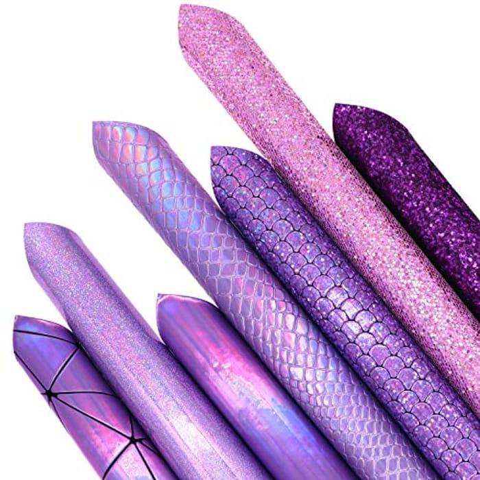 7Pcs/Set Faux Leather Fabric Sheets Mixed Bundle Shiny Holographic Sparkle