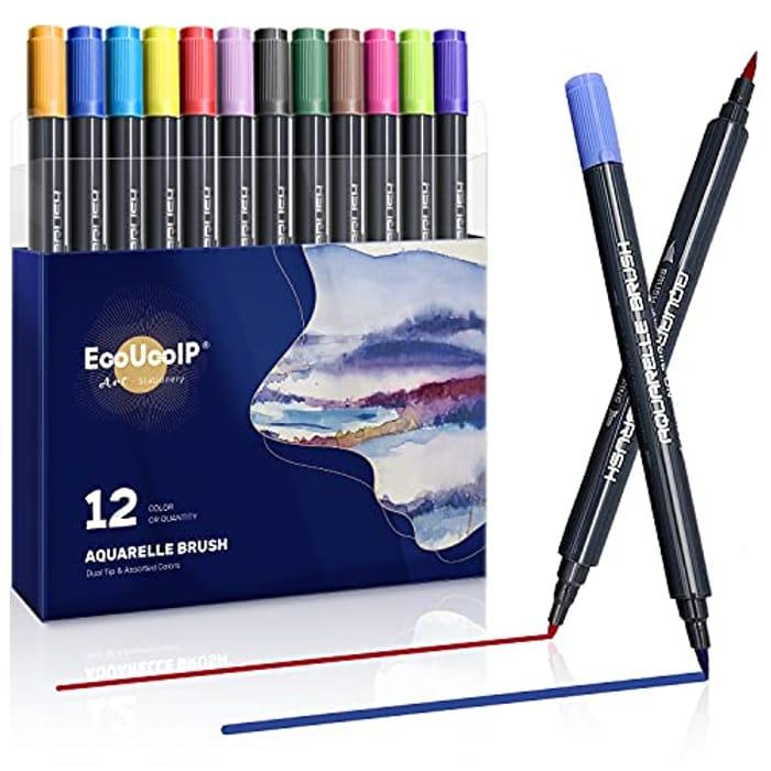 12 PCS Watercolour Dual Tip Brush Calligraphy Pen Set - Only £4.80!