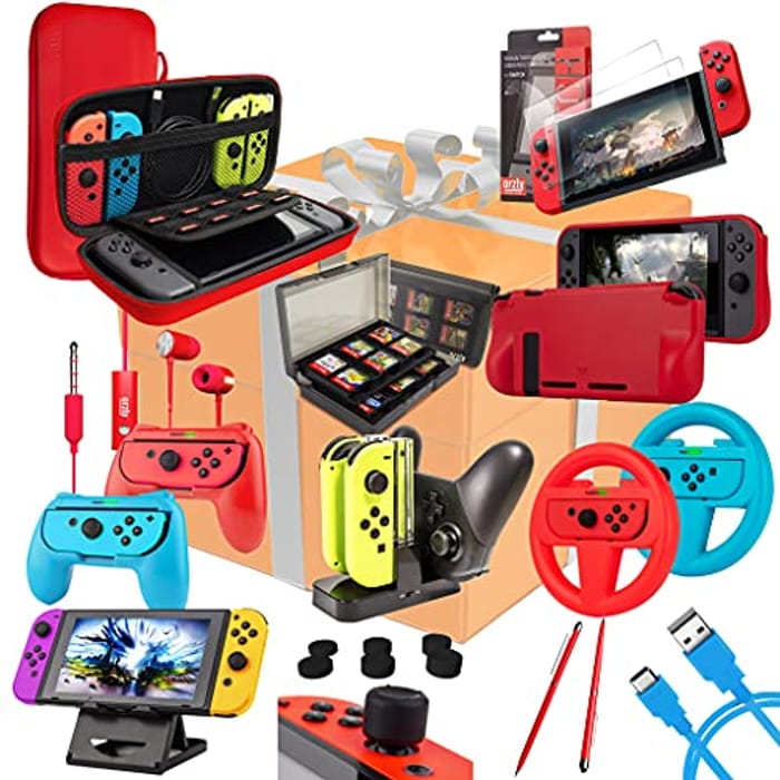 LIGHTNING DEAL - Switch Accessories Bundle - Orzly Geek Pack for Nintendo Switch