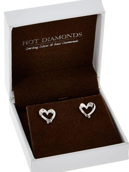 HOT DIAMONDS Silver Tone Entwine Heart Earrings