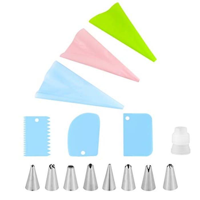 SOSPIRO 15pcs Piping Bag and Nozzle Kit