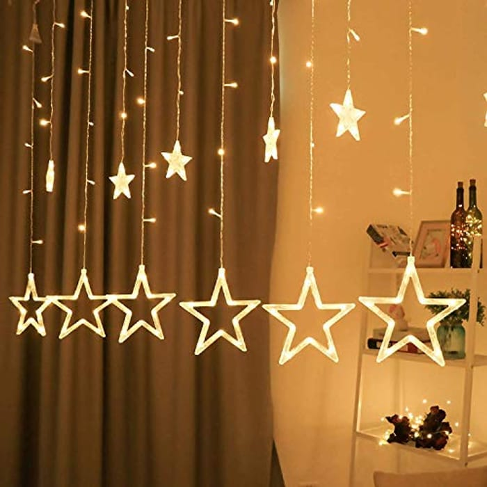 Star Curtain Lights,12 Stars 138LED Curtain String Lights - Only £11.48!