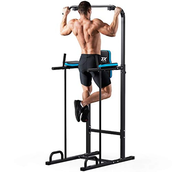 JX FITNESS Power Tower Adjustable Dip Station Pull up Bar - Only £64.97!