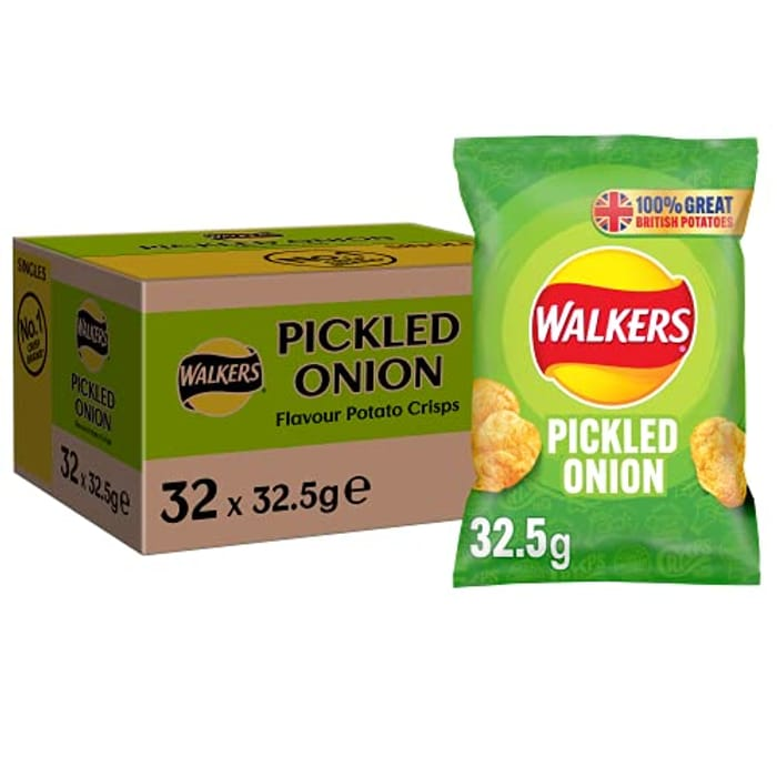 Walkers Crisps Pickled Onion Crisps Box, 32.5 G (Case of 32)