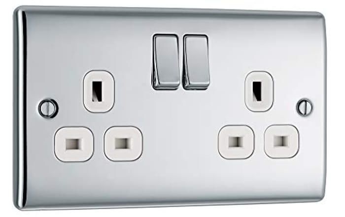 Double Switched Power Socket with White Inserts
