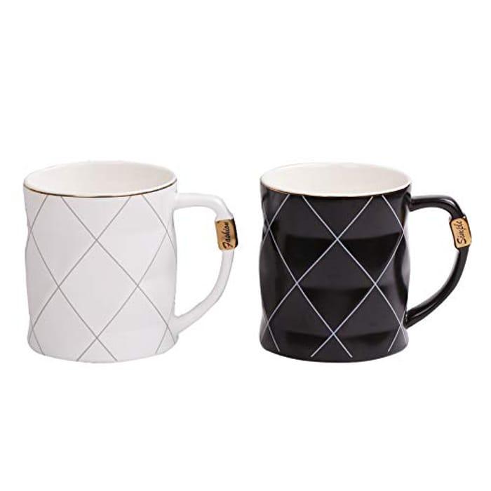 2 Pack Ceramic Mug, 450ml Ceramic Pot Cup White and Black