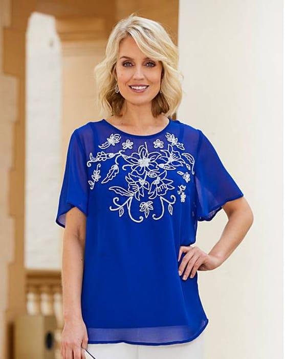 Nightingales Cobalt Embellished Blouse