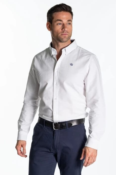 """""""Arun"""" Mens Classic Cotton Oxford Shirt in White - Now £20!"""