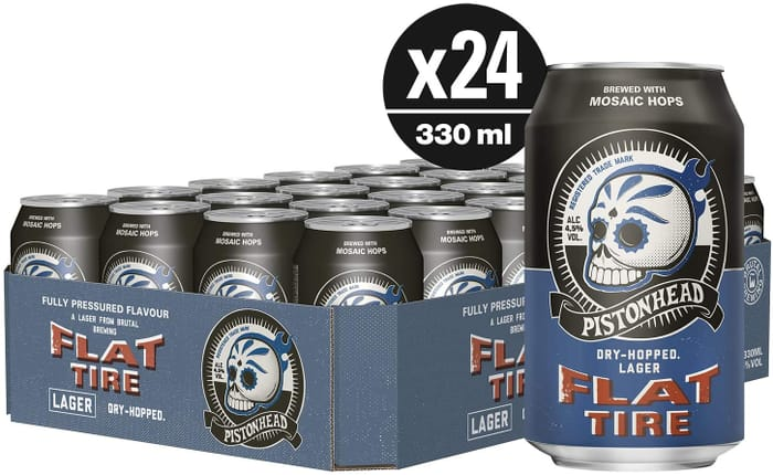 Pistonhead Flat Tire Lager - 24 X 330ml Cans + FREE DELIVERY