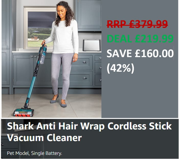 £160 OFF TODAY! SHARK CORDLESS Vacuum Cleaner IZ201UKT Anti Hair Wrap, PET HAIR