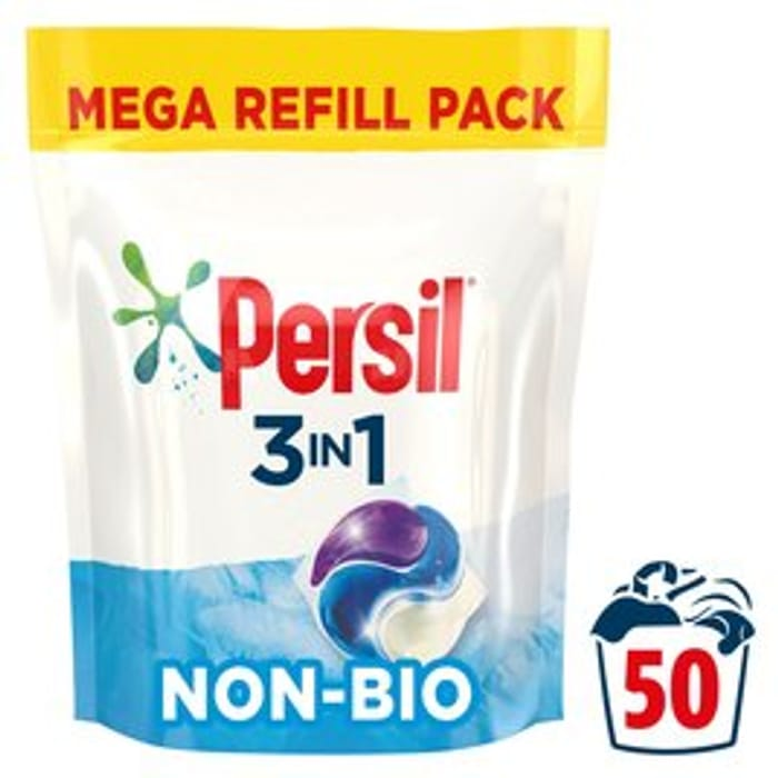 Persil 3 in 1 Laundry Washing Capsules Non Bio 50 Wash 50 per Pack