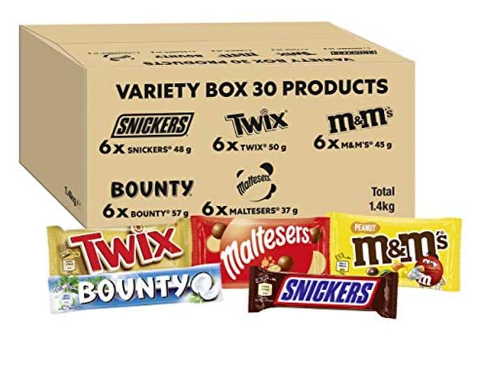 M&Ms, Snickers, Twix, Mixed Chocolate Bar Variety Bulk Box, 30 Bars, 1.4kg