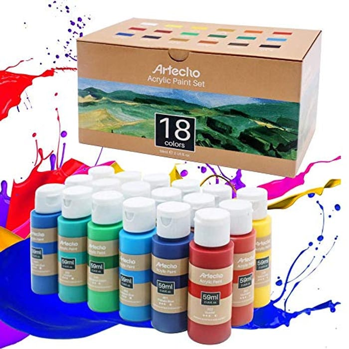 DEAL STACK - Artecho Acrylic Paint Set of 18 Colors for Art + 20% Coupon
