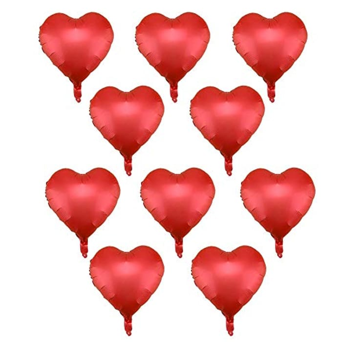 Eecoo Pack of 10 Heart Shaped Foil Balloons 10inch