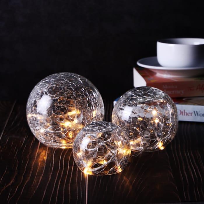 Fairy Light Crackle Glass Orbs - Set of 3 | M&W