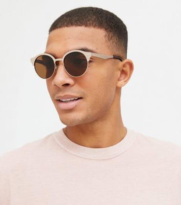 Gold Metal Frame round Sunglasses