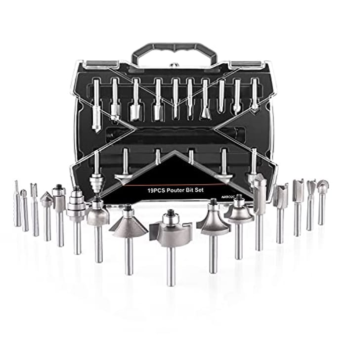 DEAL STACK - Wood Milling Saw Cutter 19pcs Router Bit Sets + 5% Coupon