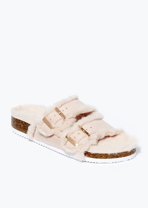 Faux Fur Buckle Sandals, Free C and C