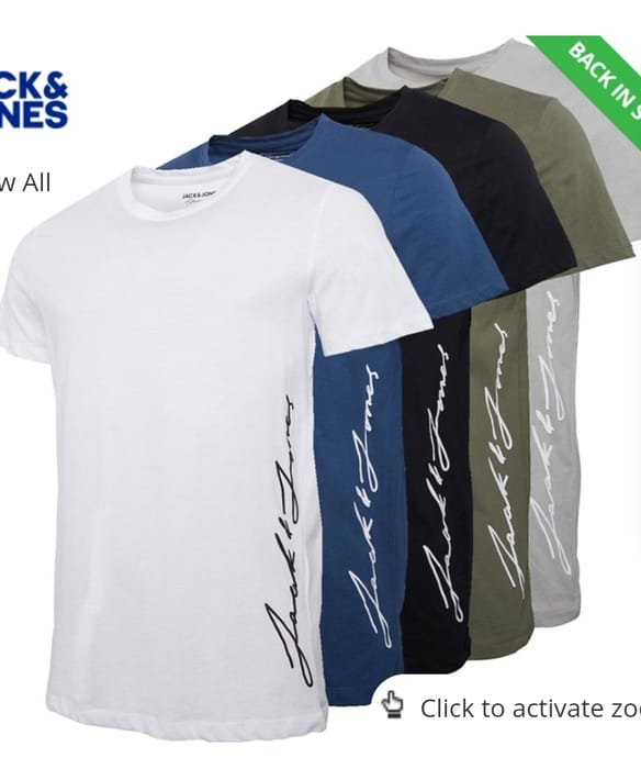 JACK and JONES Mens Ombre Side Five Pack T-Shirts White/Blue/Black/Grey/Khaki