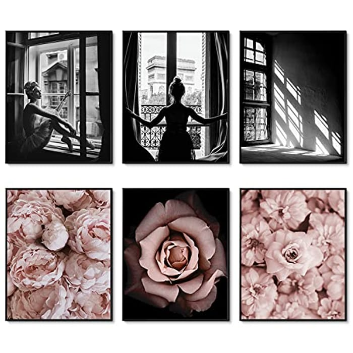 DEAL STACK - HoozGee Decorative Trendy Fashion Wall Art Prints Set of 6 + Code