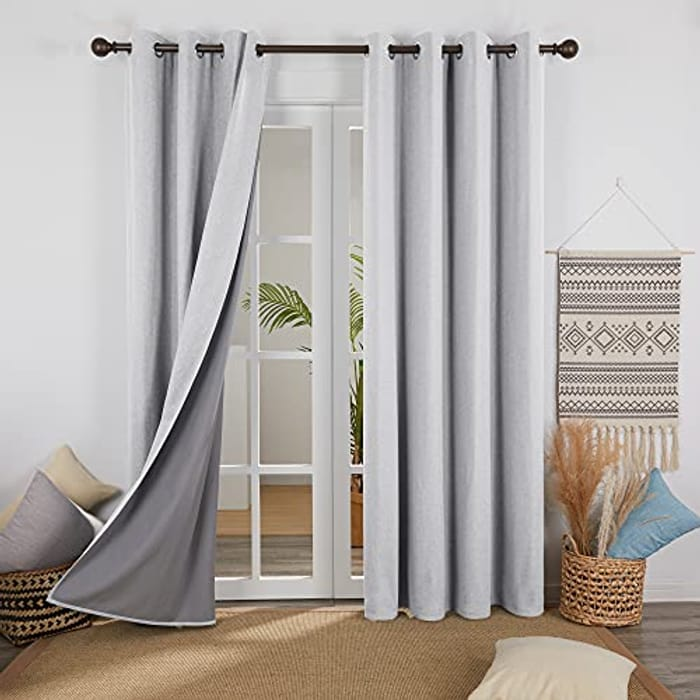 Linen Look Full Blackout Curtains with Coating Back Layer with £17 off Coupon