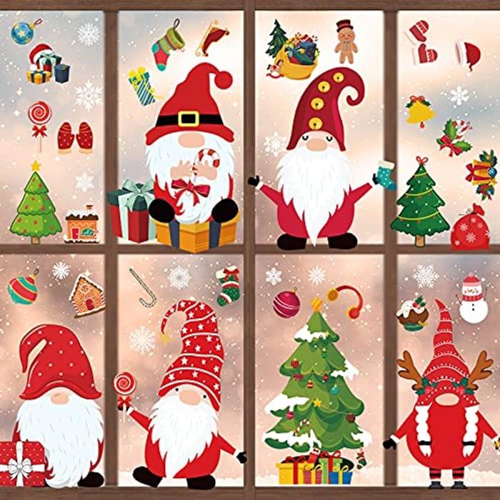 400 Pcs Christmas Window Stickers 12 Sheets Christmas Window Decorations
