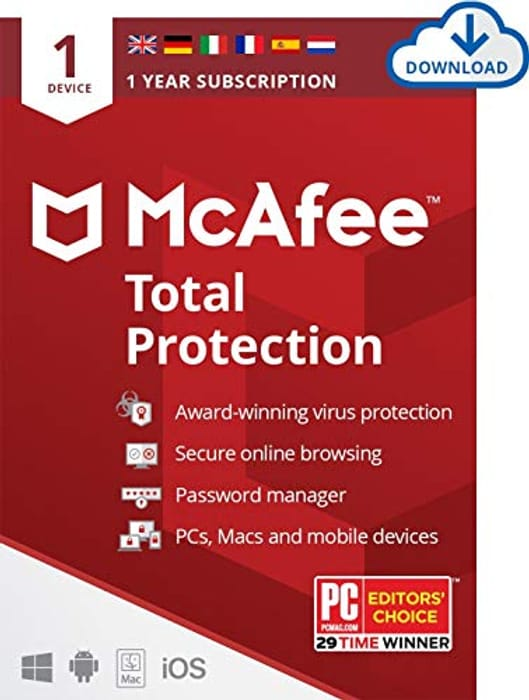 McAfee Total Protection 2021 | 1 Device | 1 Year | Antivirus Software