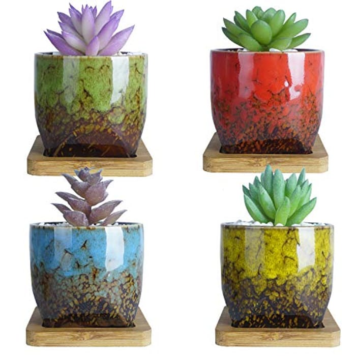 ARTKETTY Ceramic Succulent Plant Pots with £5 off Coupon