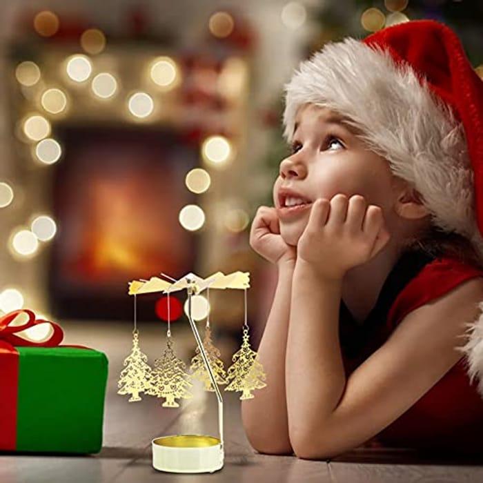 Aromatherapy Candle Holder Girl's Heart Golden Revolving Lantern - Only £4.92!