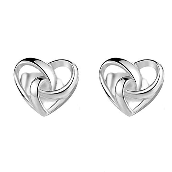 Beiswin Simple Love Heart Shape Stud Earrings 925 Sterling Silver