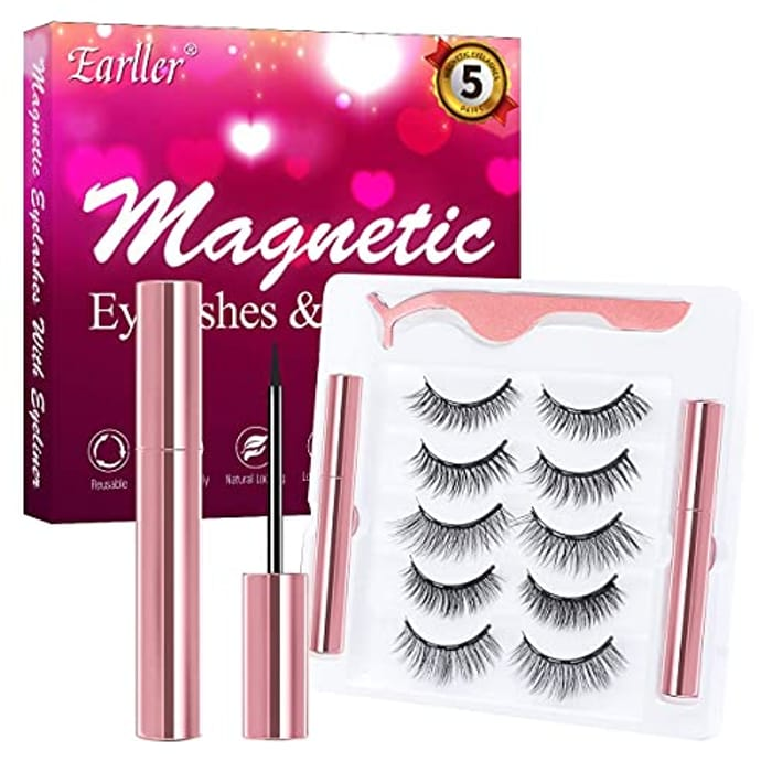 5 Pairs Magnetic Eyelashes + Eyeliner Set