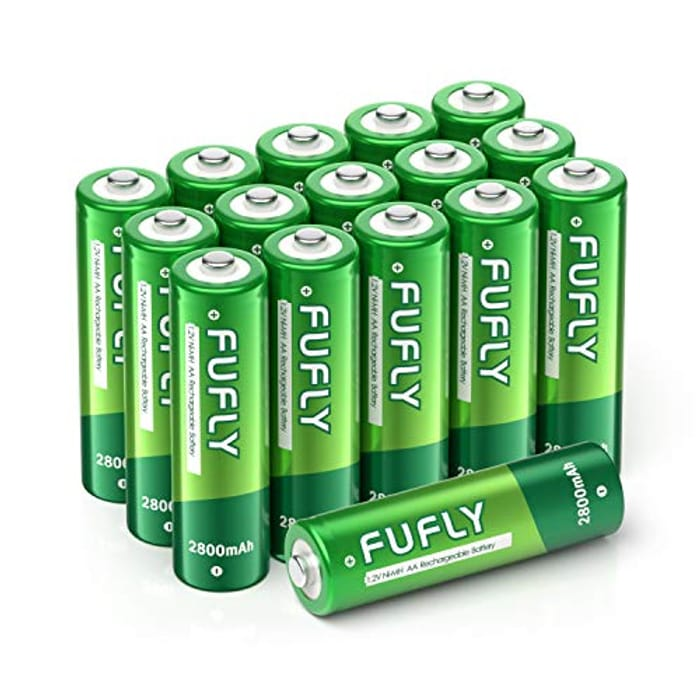 Fufly Pack of 16 AA Rechargeable Batteries 2800mAh