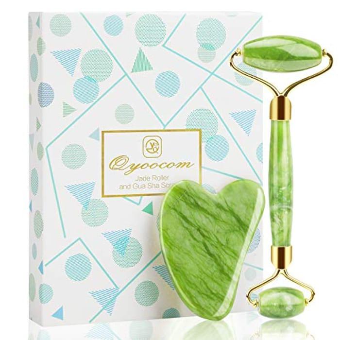 Jade Face Roller Gua Sha Massage Tool Set