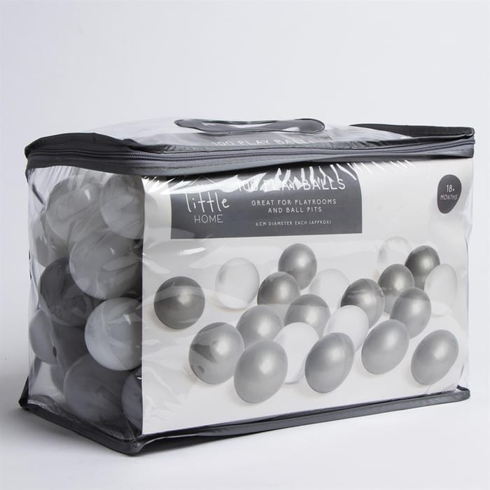 100 Play Balls - Grey & White