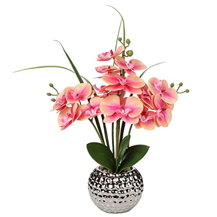 Briful Artificial Orchid Pink Artificial Flowers - Coral or Pink