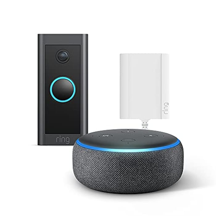 REDUCED AGAIN Ring Video Doorbell Wired + Plug-in Adapter + Echo Dot (3rd Gen)