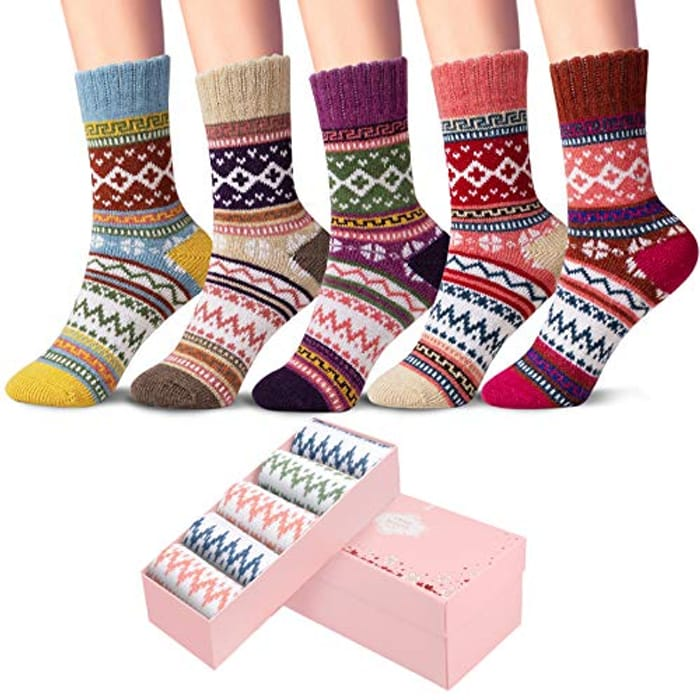 DEAL STACK - CEIVY 5 Pairs Winter Women's Thermal Socks + 5% Coupon