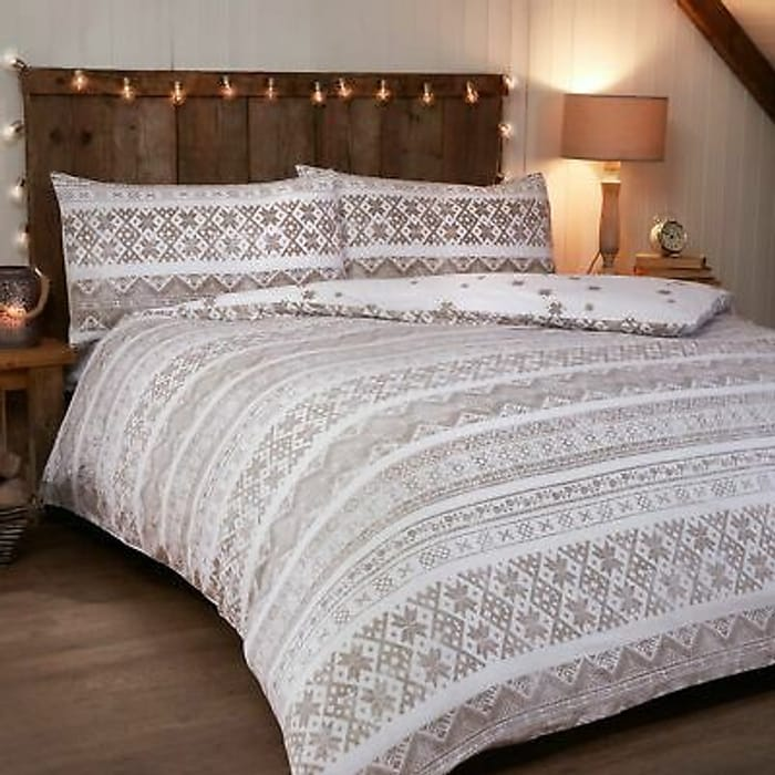 Cheap! Brushed Cotton Fairisle Christmas Duvet Sets From £10 Delivered